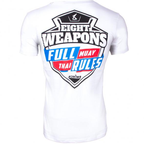 T-shirt 8 Weapons Full Muay Thaï Rules - Blanc