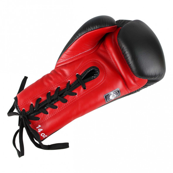 Gants de boxe à lacets Twins BGLL-1 - Noir/Rouge