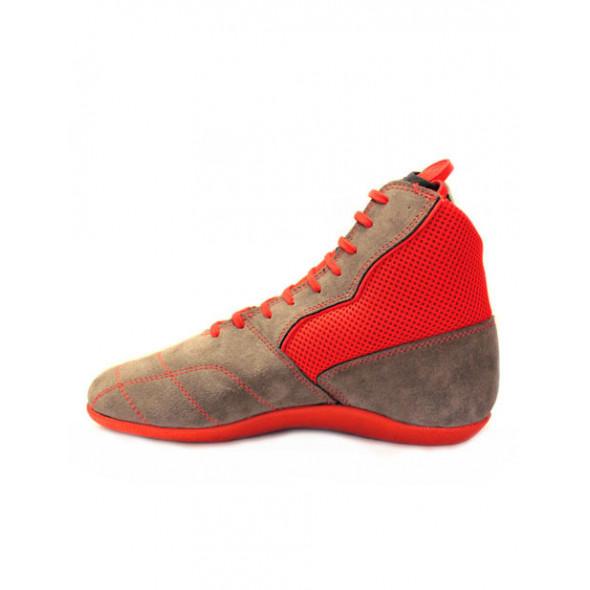 Chaussures de boxe française Savate Rivat Boom - Gris/Rouge