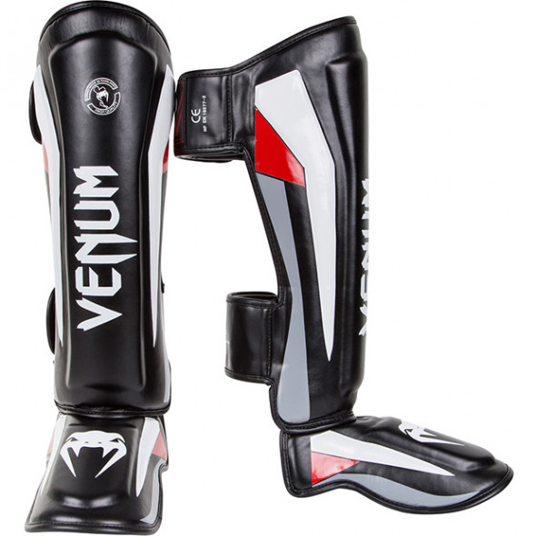 Venum Elite Standup Shinguards - Black/Red/Grey