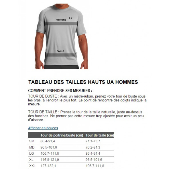 Guide des tailles - T-shirt Under Armour Ali Training