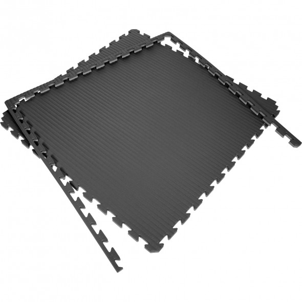 Puzzle mats 100x100x2cm (x10) - Black/Gray