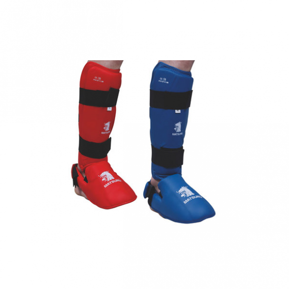 Protège-Tibias et coup de pieds FFKAMA - Bleu/Rouge