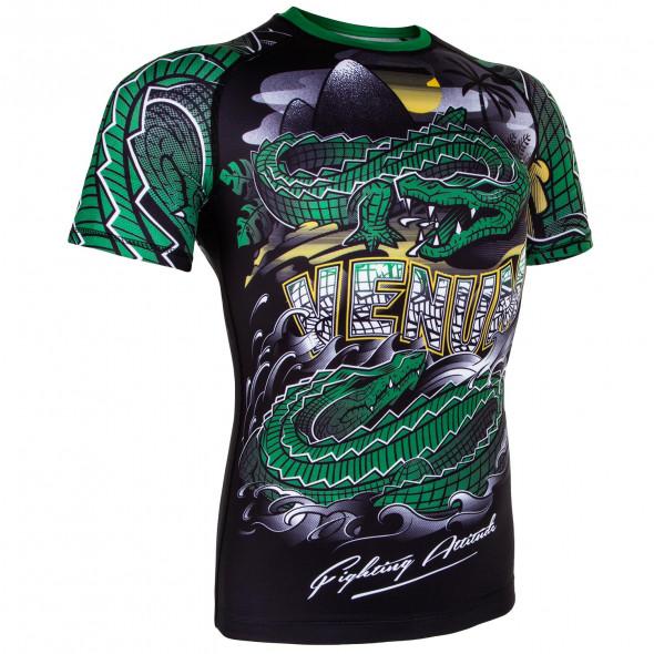 Venum Crocodile Rashguard - Black/Green - Short Sleeves