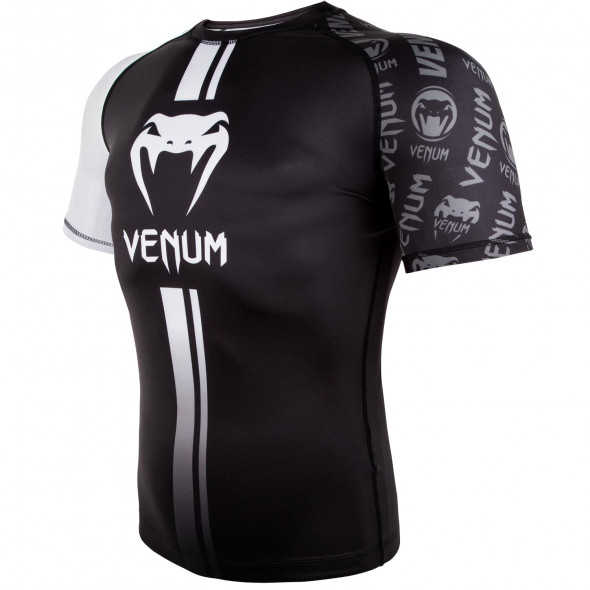Venum Logos Rashguard Short Sleeves - Black/White