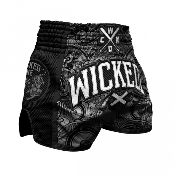 Short de Muay Thai Wicked One Rude - Noir