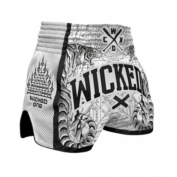 Short de Muay Thai Wicked One Tiger - Blanc