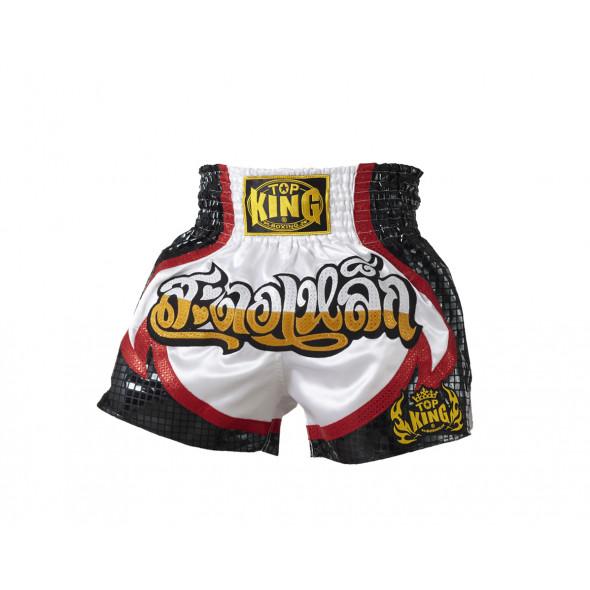 Top King short Muay Thai  - Black/White
