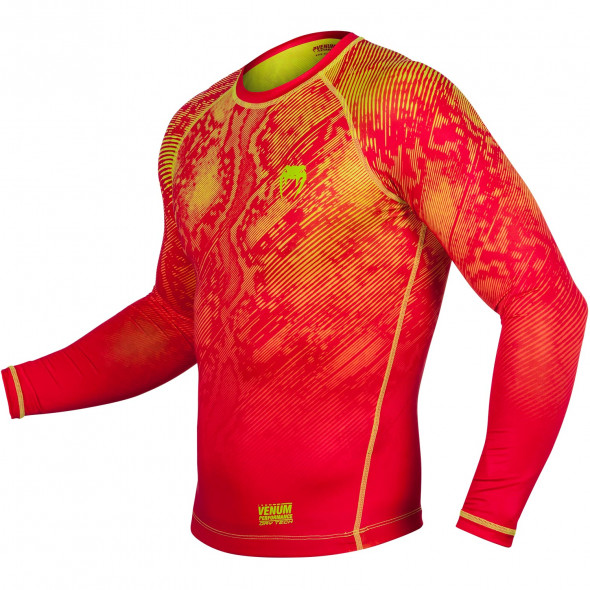 Venum Fusion Compression T-shirt - Long Sleeves - Orange/Yellow