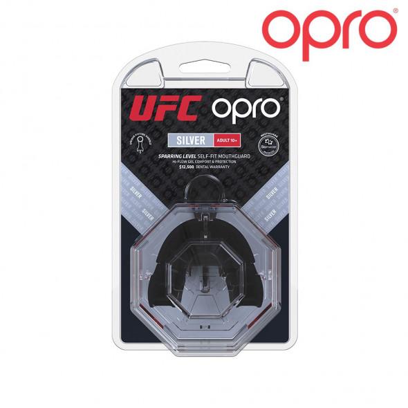 Protège-dents Opro UFC Silver - Noir/Rouge