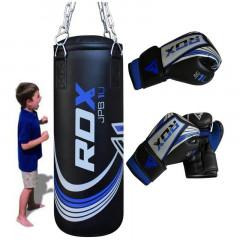RDX Sports Sac de Frappe Plein + Gants de boxe - Enfant - Noir