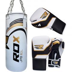 RDX Sport Sac de Frappe Plein + Gant de boxe - Pour enfant - Blanc/Doré