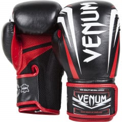 "Venum ""Sharp"" Boxing Gloves - Black/Ice/Red - Nappa Leather"