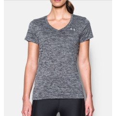 T-shirt Col V Femme Under Armour Twist Tech™ - Noir Chiné