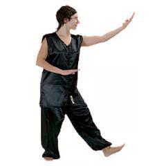 Kung Fu Kimono - Black satin - Sleevless