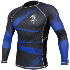 "Hayabusa Rashguard  ""Metaru"" Long Sleeves - Black / Blue"
