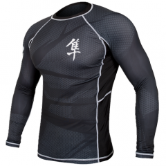 "Hayabusa  Rashguard ""Metaru"" Long Sleeves - Black / Black"