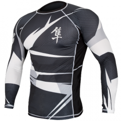 "Hayabusa Rashguard ""Metaru"" Long Sleeves - Black / White"