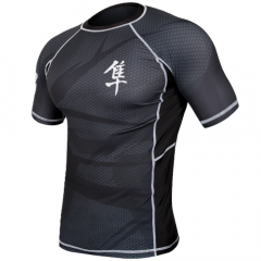 "Hayabusa  Rashguard ""Metaru"" short Sleeves - Black / Black"