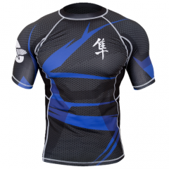"Hayabusa Rashguard  ""Metaru"" Short Sleeves - Black / Blue"
