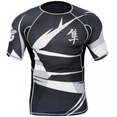 "Hayabusa Rashguard  ""Metaru"" Short Sleevse - Black / White"