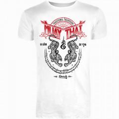 T-SHIRT 8 WEAPONS Sak Yant Tigers White - Muay Thai