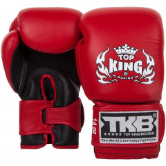 Gants de boxe Top King Super Double Velcro - Rouge/Noir