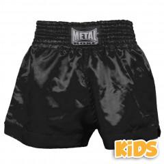 Short Boxe Thaï Metal Boxe - Noir - Enfant