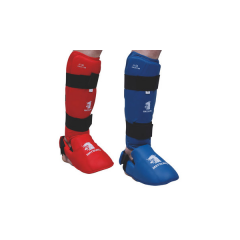 Shin Guards and kick pads FFKDA feet - Blue/Red