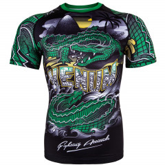 Venum Crocodile Rashguard - Black/Green - Short Sleeves