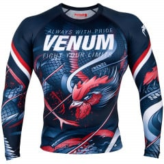 Venum Rooster Rashguard - Long Sleeves - Navy Blue/Orange