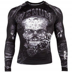 Venum Santa Muerte 3.0 Rashguard - Long Sleeves - Black/White