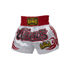 Short Muay Thai Top King - Blanc/Rouge