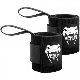 Venum Hyperlift Lifting Wrist Bands (Pair) - Black