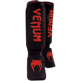Venum Kontact Shinguards - Black/Red